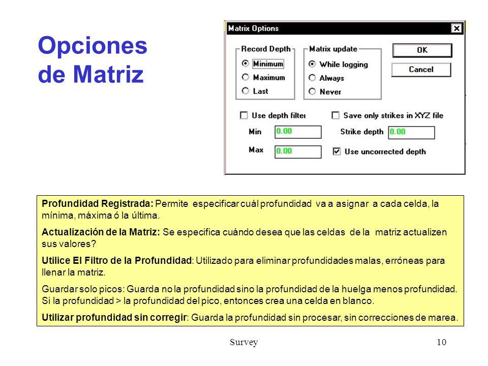 Survey10 Opciones de Matriz Profundidad Registrada: Permite especificar cuál profundidad va a asignar a cada celda, la mínima, máxima ó la última.