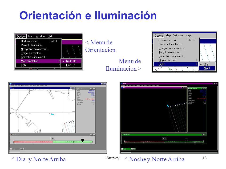 Survey13 Orientación e Iluminación ^ Dia y Norte Arriba ^ Noche y Norte Arriba < Menu de Orientacion Menu de Iluminacion >