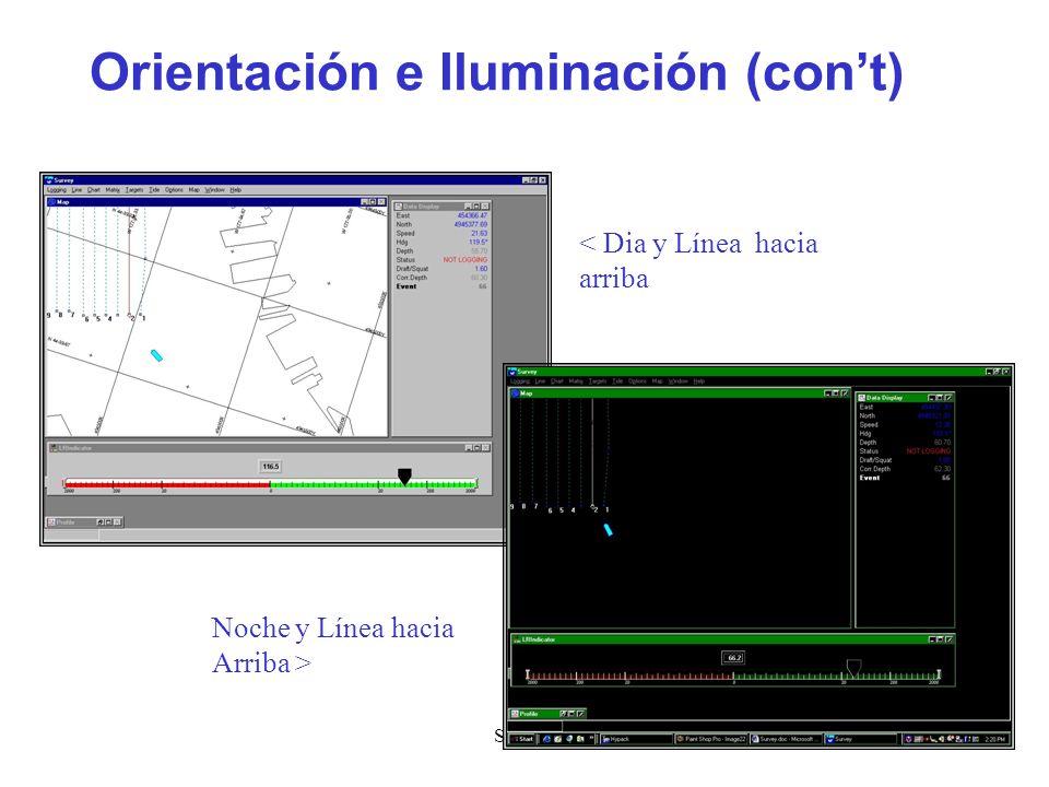 Survey14 Orientación e Iluminación (cont) < Dia y Línea hacia arriba Noche y Línea hacia Arriba >