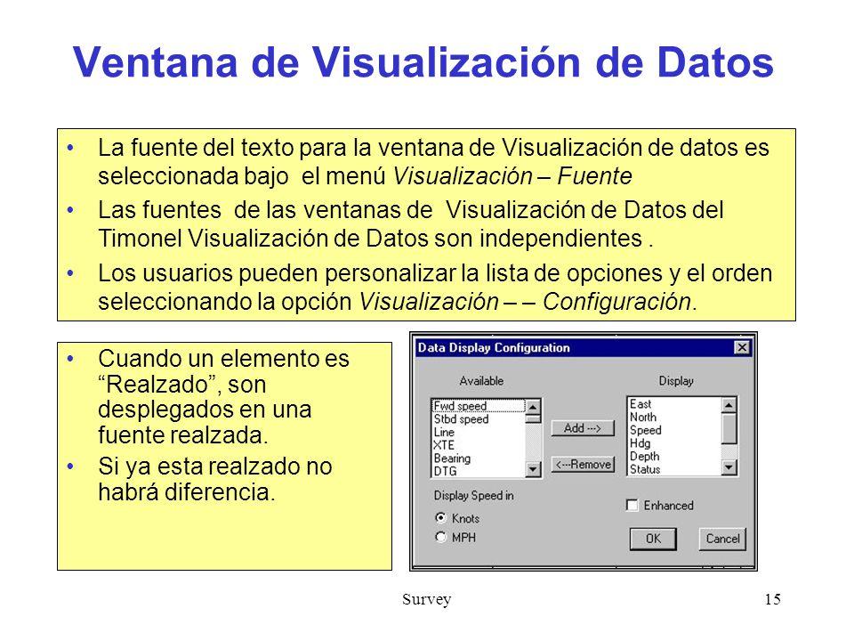 Survey15 Ventana de Visualización de Datos Cuando un elemento es Realzado, son desplegados en una fuente realzada.