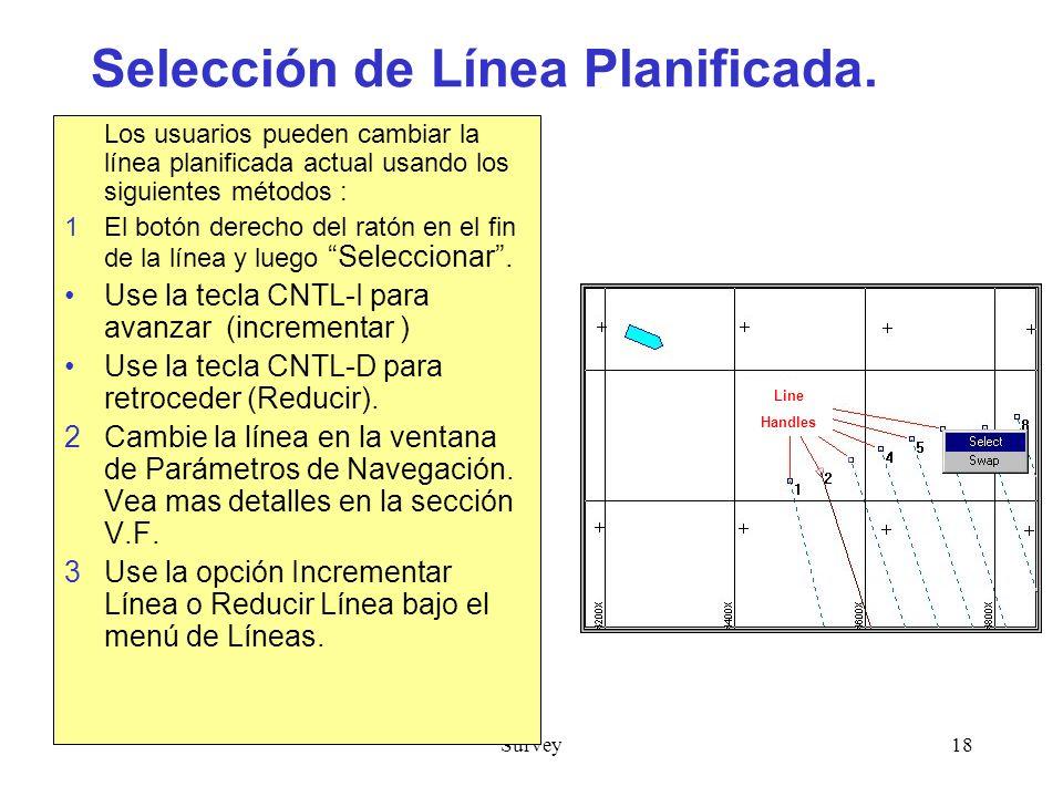 Survey18 Selección de Línea Planificada.