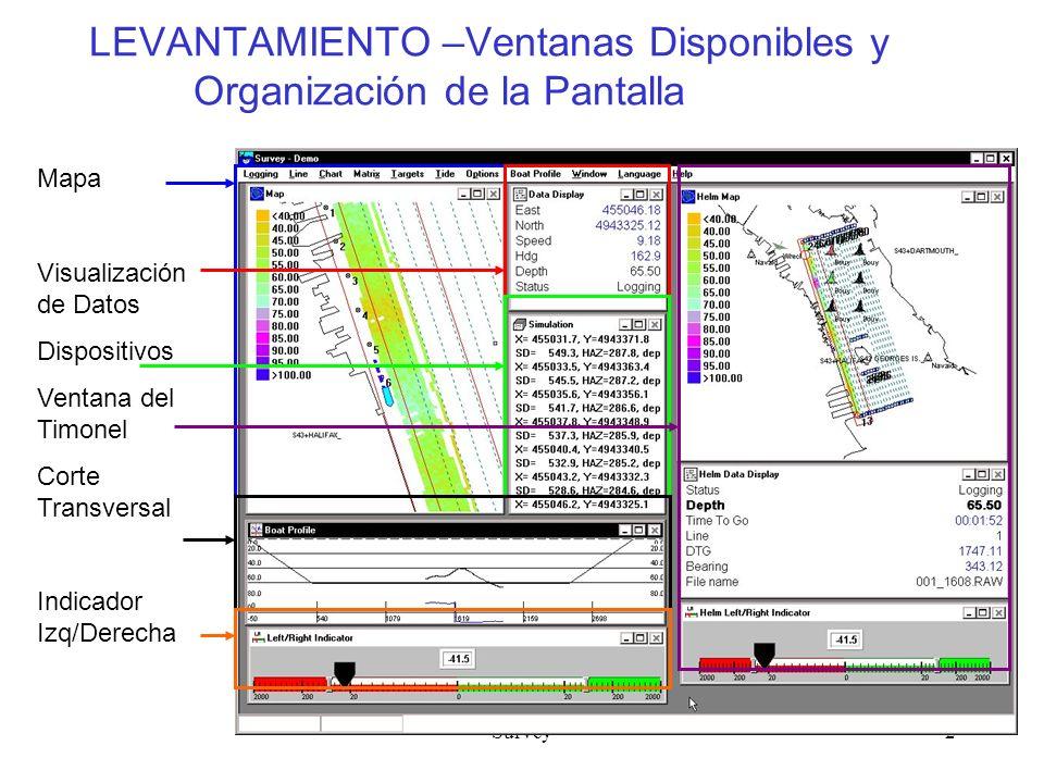 Survey2 LEVANTAMIENTO –Ventanas Disponibles y Organización de la Pantalla Mapa Visualización de Datos Dispositivos Ventana del Timonel Corte Transversal Indicador Izq/Derecha