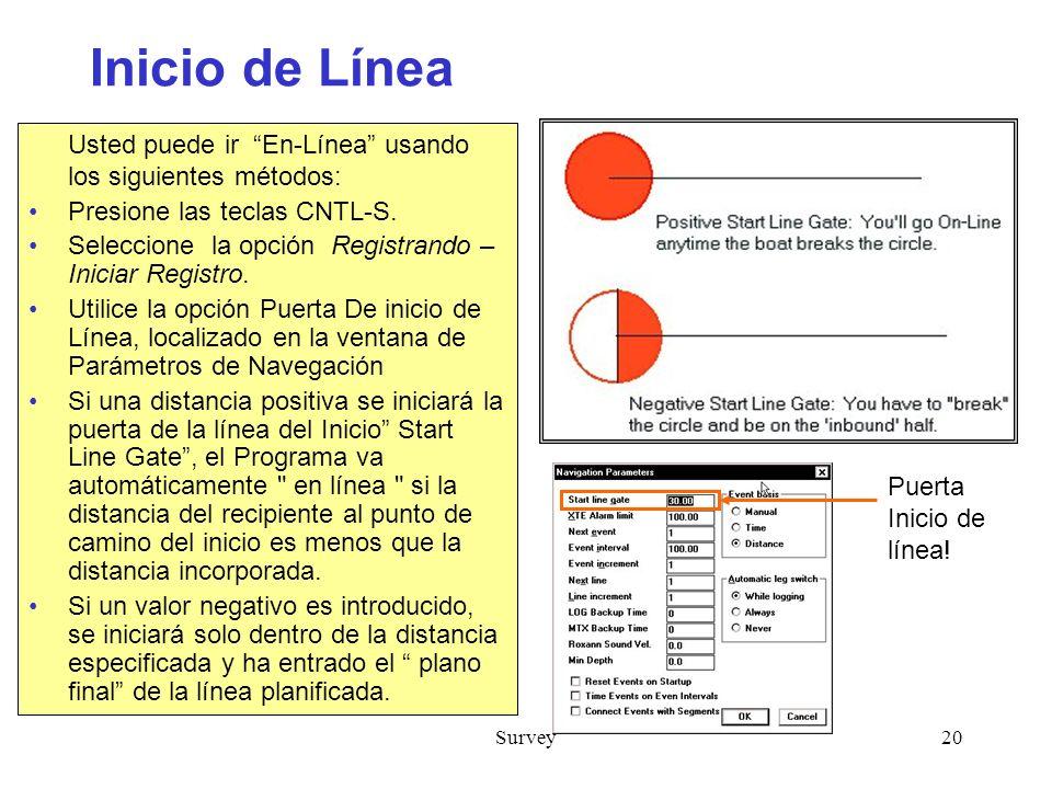 Survey20 Inicio de Línea Usted puede ir En-Línea usando los siguientes métodos: Presione las teclas CNTL-S.