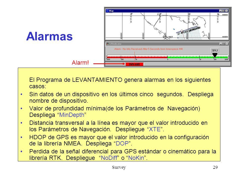 Survey29 Alarmas El Programa de LEVANTAMIENTO genera alarmas en los siguientes casos: Sin datos de un dispositivo en los últimos cinco segundos.