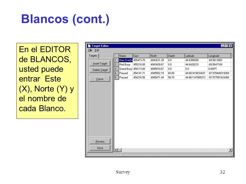 Survey32 Blancos (cont.) En el EDITOR de BLANCOS, usted puede entrar Este (X), Norte (Y) y el nombre de cada Blanco.