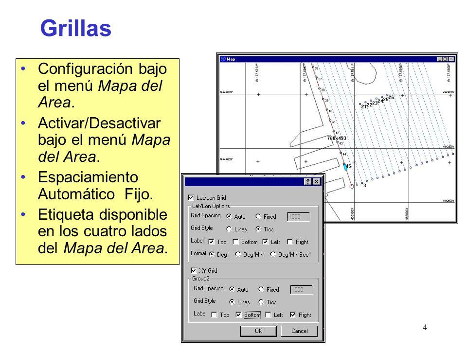 Survey4 Grillas Configuración bajo el menú Mapa del Area.