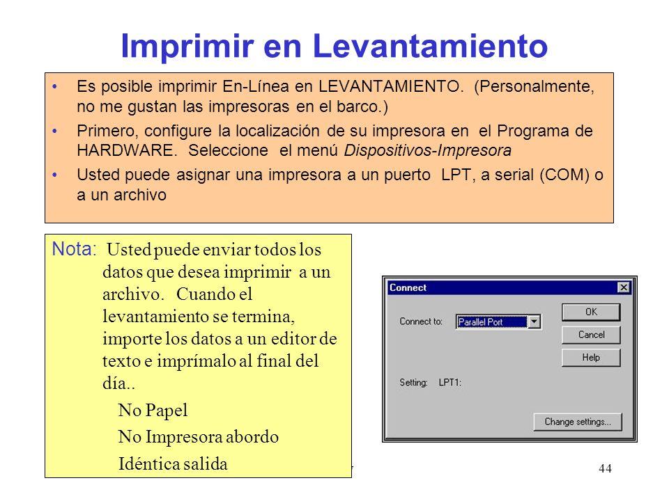 Survey44 Imprimir en Levantamiento Es posible imprimir En-Línea en LEVANTAMIENTO.