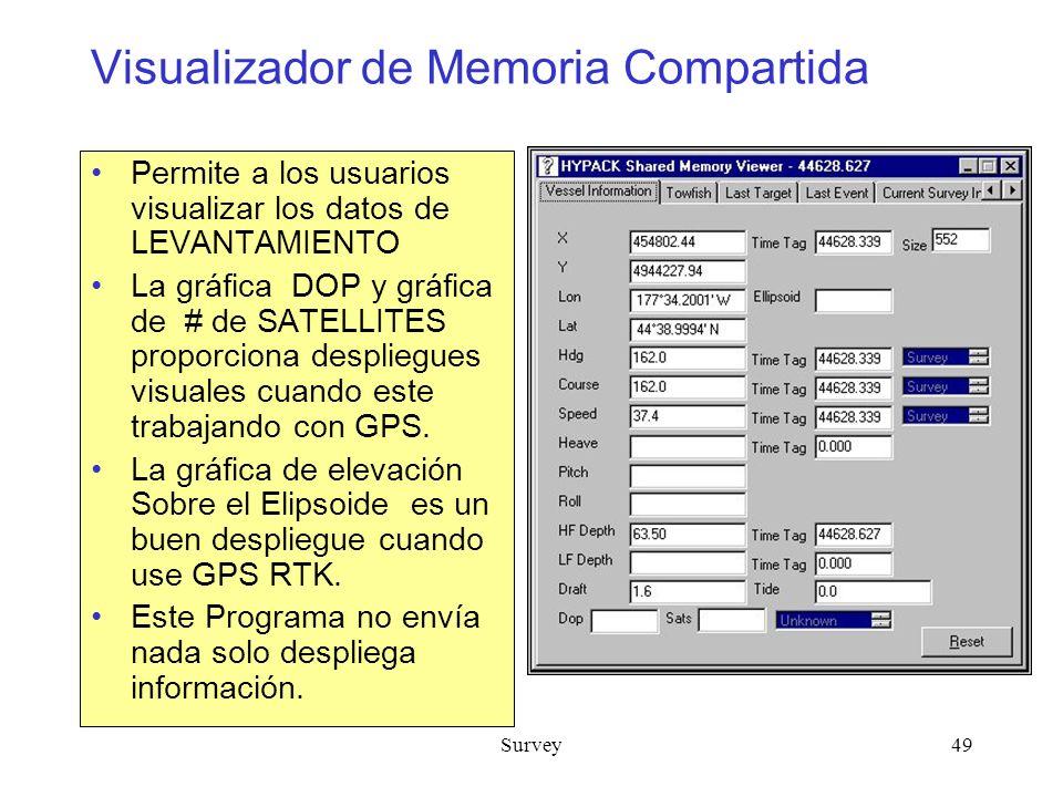 Survey49 Visualizador de Memoria Compartida Permite a los usuarios visualizar los datos de LEVANTAMIENTO La gráfica DOP y gráfica de # de SATELLITES proporciona despliegues visuales cuando este trabajando con GPS.