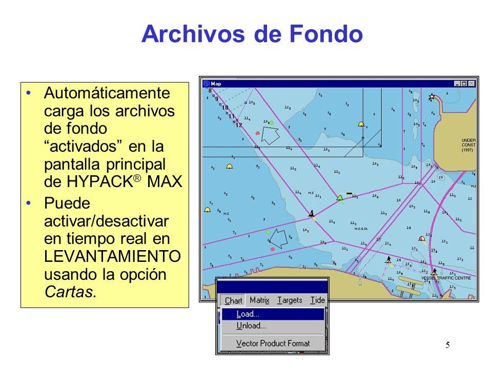 Survey5 Archivos de Fondo Automáticamente carga los archivos de fondo activados en la pantalla principal de HYPACK ® MAX Puede activar/desactivar en tiempo real en LEVANTAMIENTO usando la opción Cartas.