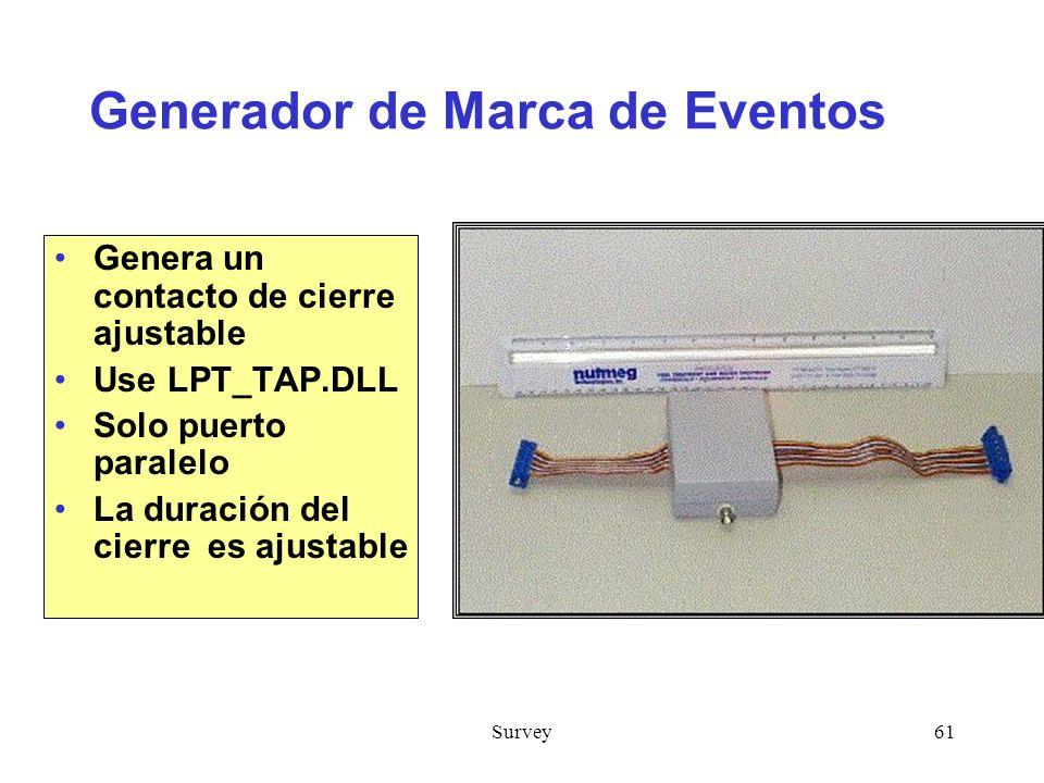 Survey61 Generador de Marca de Eventos Genera un contacto de cierre ajustable Use LPT_TAP.DLL Solo puerto paralelo La duración del cierre es ajustable