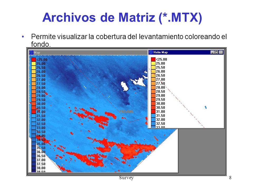Survey8 Archivos de Matriz (*.MTX) Permite visualizar la cobertura del levantamiento coloreando el fondo.