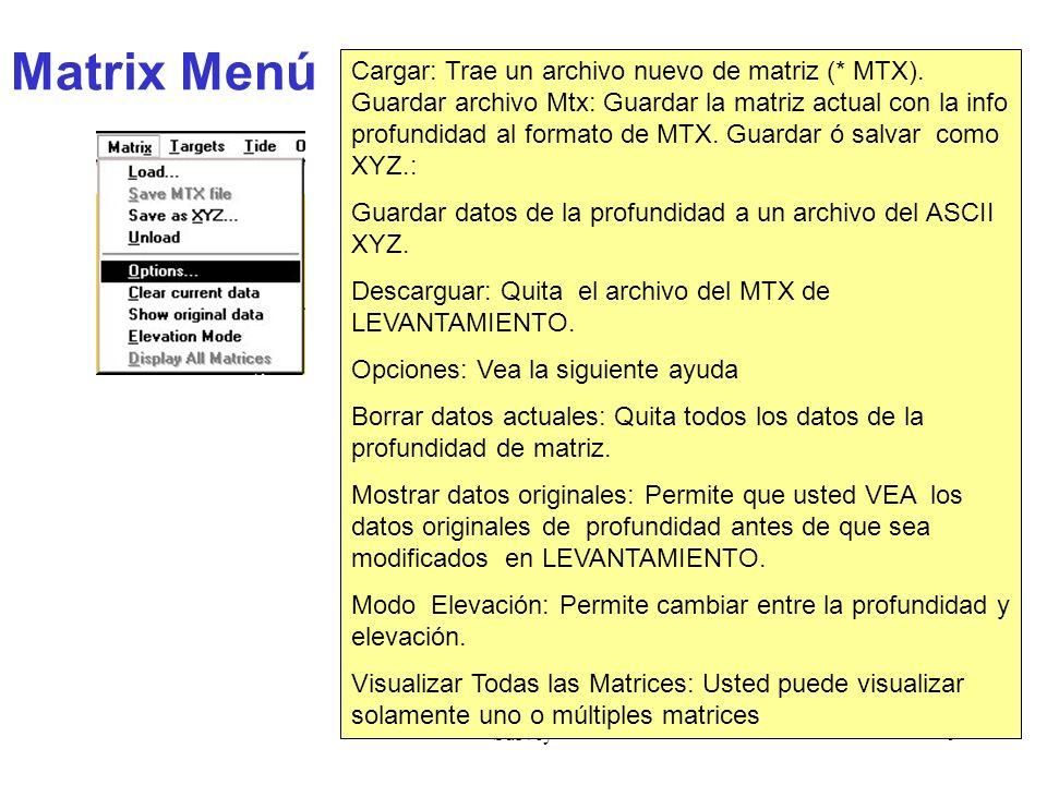 Survey9 Matrix Menú Cargar: Trae un archivo nuevo de matriz (* MTX).