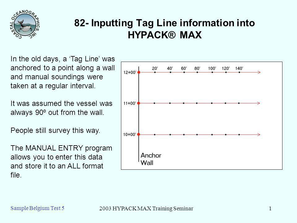 2003 HYPACK MAX Training Seminar2 Sample Belgium Test 5 82 – Running Manual Entry 1.Open the SAMPLE BELGIUM TEST 5 project.