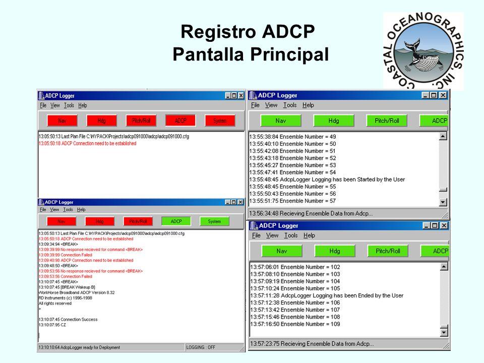 2003 HYPACK MAX Training Seminar11 Registro ADCP Pantalla Principal