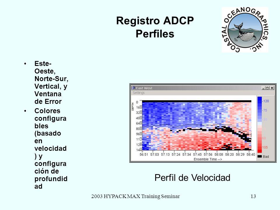 2003 HYPACK MAX Training Seminar13 Registro ADCP Perfiles Este- Oeste, Norte-Sur, Vertical, y Ventana de Error Colores configura bles (basado en veloc