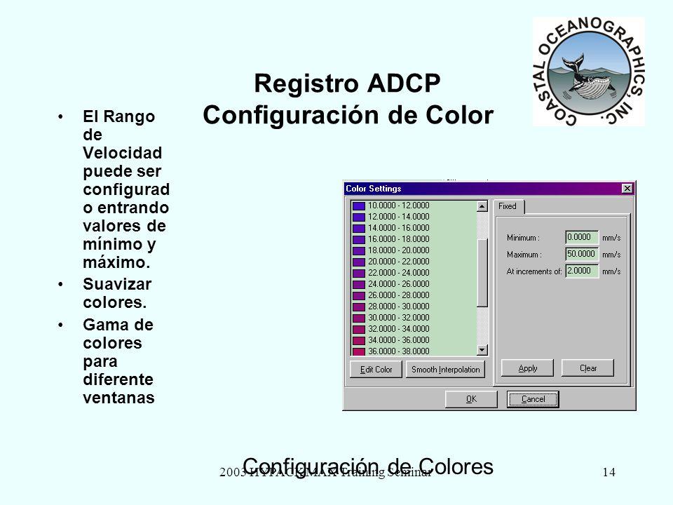 2003 HYPACK MAX Training Seminar14 Registro ADCP Configuración de Color El Rango de Velocidad puede ser configurad o entrando valores de mínimo y máxi