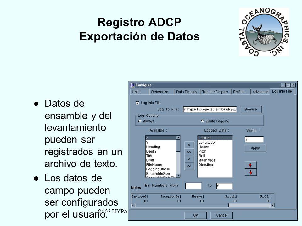 2003 HYPACK MAX Training Seminar21 Registro ADCP Exportación de Datos Datos de ensamble y del levantamiento pueden ser registrados en un archivo de texto.