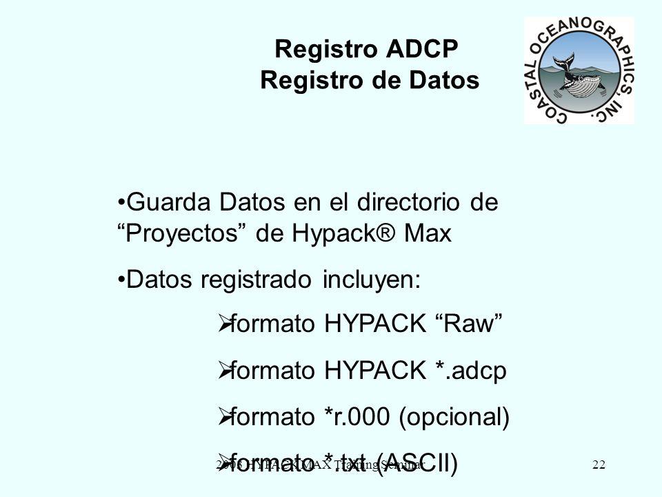 2003 HYPACK MAX Training Seminar22 Registro ADCP Registro de Datos Guarda Datos en el directorio de Proyectos de Hypack® Max Datos registrado incluyen