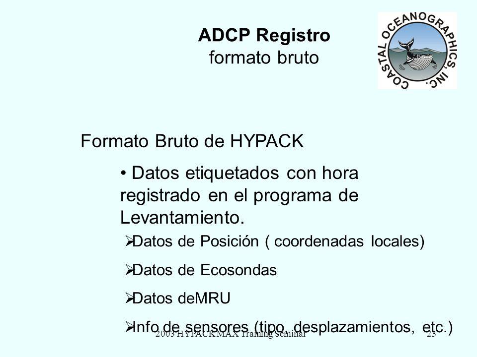 2003 HYPACK MAX Training Seminar23 ADCP Registro formato bruto Formato Bruto de HYPACK Datos etiquetados con hora registrado en el programa de Levanta
