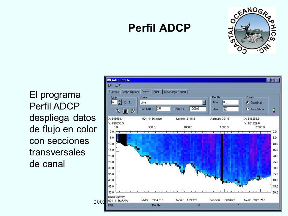 2003 HYPACK MAX Training Seminar26 Perfil ADCP El programa Perfil ADCP despliega datos de flujo en color con secciones transversales de canal