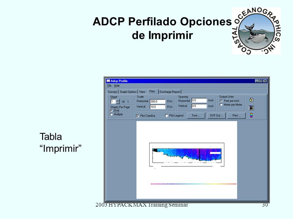 2003 HYPACK MAX Training Seminar30 ADCP Perfilado Opciones de Imprimir Tabla Imprimir