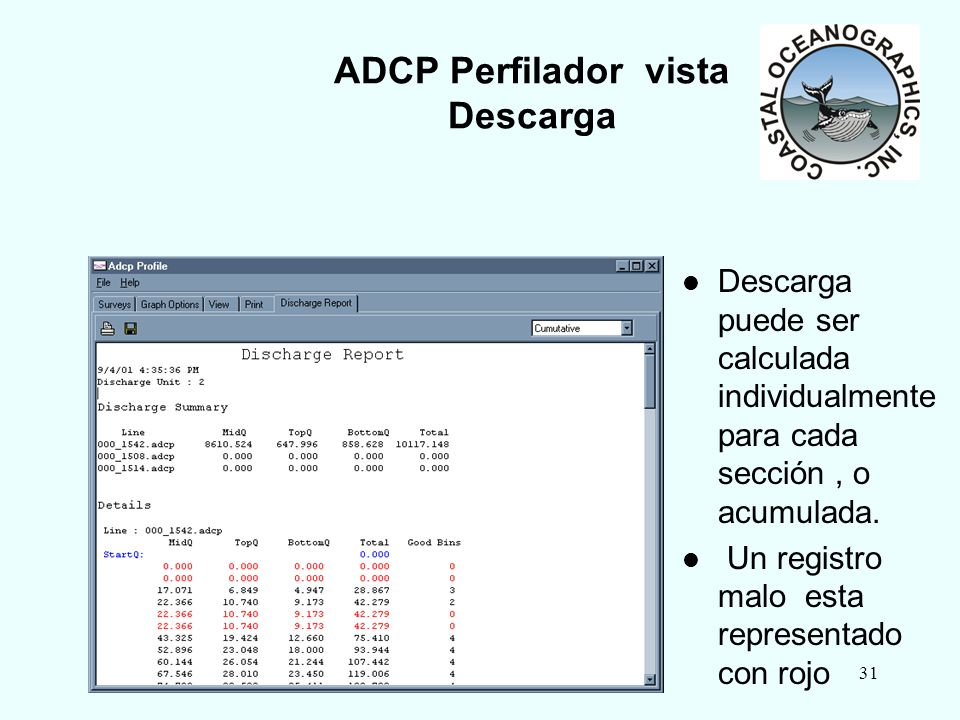 2003 HYPACK MAX Training Seminar31 ADCP Perfilador vista Descarga Descarga puede ser calculada individualmente para cada sección, o acumulada. Un regi