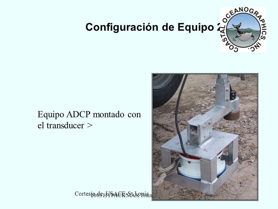 2003 HYPACK MAX Training Seminar5 Configuración de Equipo 2 Equipo ADCP montado con el transducer > Cortesía de USACE-St Louis