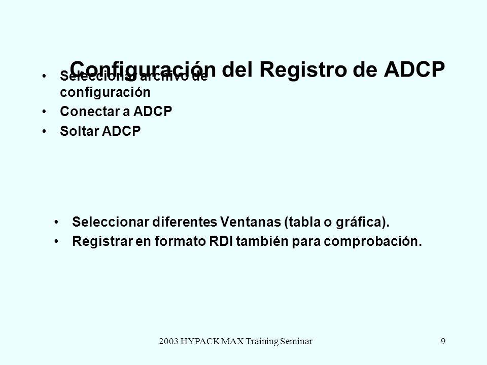 2003 HYPACK MAX Training Seminar9 Configuración del Registro de ADCP Seleccionar archivo de configuración Conectar a ADCP Soltar ADCP Seleccionar dife