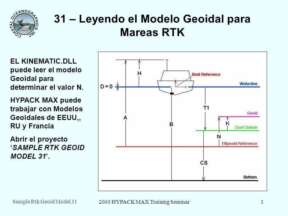 2003 HYPACK MAX Training Seminar1 Sample Rtk Geoid Model 31 31 – Leyendo el Modelo Geoidal para Mareas RTK EL KINEMATIC.DLL puede leer el modelo Geoid