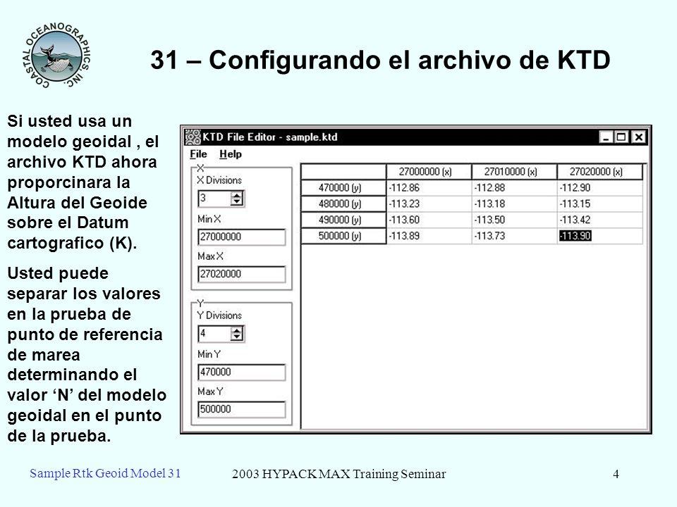 2003 HYPACK MAX Training Seminar4 Sample Rtk Geoid Model 31 31 – Configurando el archivo de KTD Si usted usa un modelo geoidal, el archivo KTD ahora p