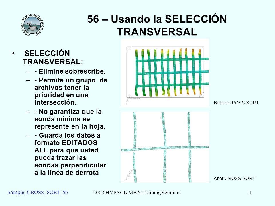 2003 HYPACK MAX Training Seminar2 Sample_CROSS_SORT_56 56 – EJECUTANDO SELECCIÓN TRANSVERSAL Cargue el ejemplo de Proyecto Sample CROSS SORT 56 –Para ejecutar la SELECCIÓN TRANSVERSAL, usted necesita: –- Una Hoja de ploteo (PLT) que rodea sus datos.