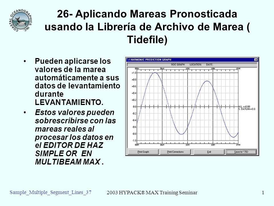 2003 HYPACK® MAX Training Seminar1 Sample_Multiple_Segment_Lines_37 26- Aplicando Mareas Pronosticada usando la Librería de Archivo de Marea ( Tidefile) Pueden aplicarse los valores de la marea automáticamente a sus datos de levantamiento durante LEVANTAMIENTO.