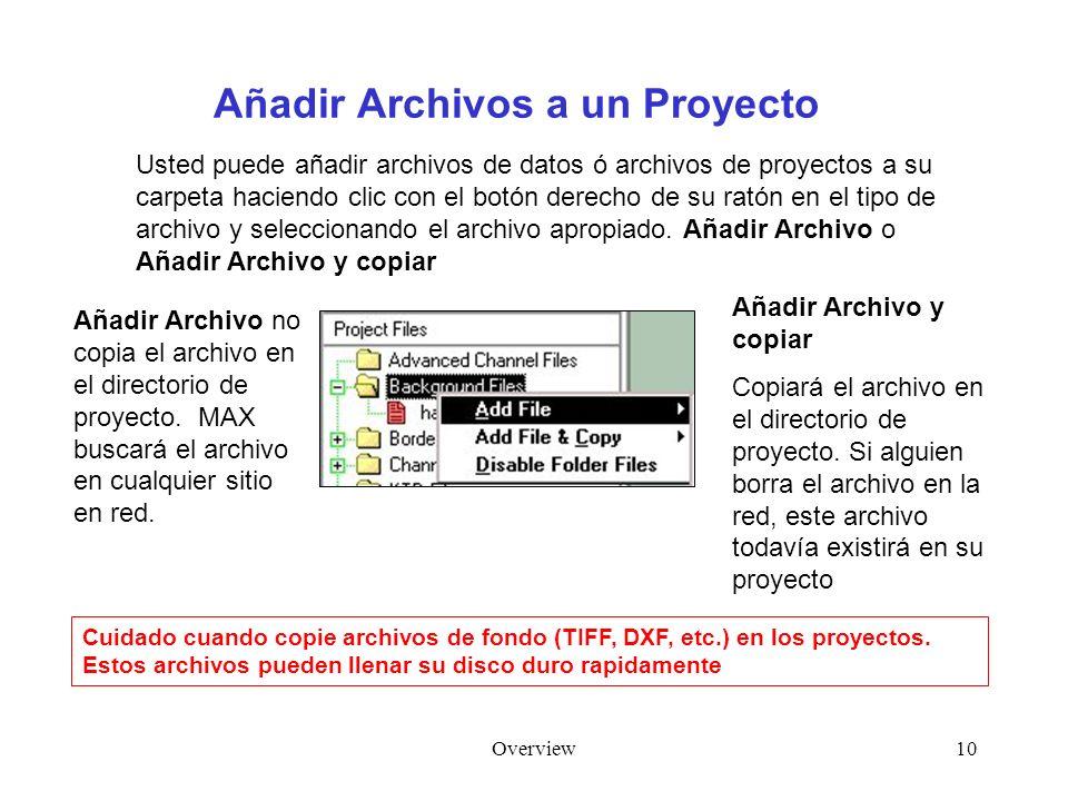Overview10 Añadir Archivos a un Proyecto Usted puede añadir archivos de datos ó archivos de proyectos a su carpeta haciendo clic con el botón derecho
