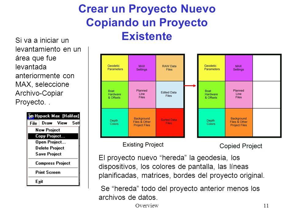 Overview11 Crear un Proyecto Nuevo Copiando un Proyecto Existente Si va a iniciar un levantamiento en un área que fue levantada anteriormente con MAX, seleccione Archivo-Copiar Proyecto..