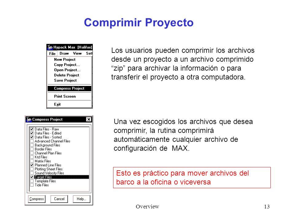 Overview13 Comprimir Proyecto Los usuarios pueden comprimir los archivos desde un proyecto a un archivo comprimido zip para archivar la información o para transferir el proyecto a otra computadora.