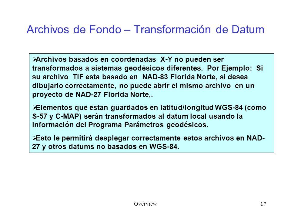 Overview17 Archivos de Fondo – Transformación de Datum Archivos basados en coordenadas X-Y no pueden ser transformados a sistemas geodésicos diferentes.