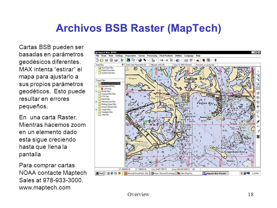 Overview18 Archivos BSB Raster (MapTech) Cartas BSB pueden ser basadas en parámetros geodésicos diferentes. MAX intenta estirar el mapa para ajustarlo