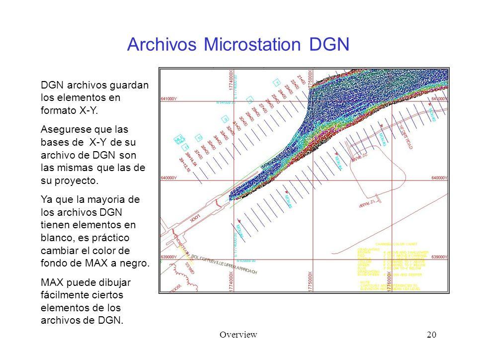 Overview20 Archivos Microstation DGN DGN archivos guardan los elementos en formato X-Y. Asegurese que las bases de X-Y de su archivo de DGN son las mi