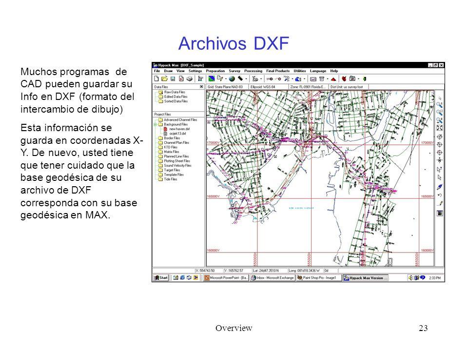 Overview23 Archivos DXF Muchos programas de CAD pueden guardar su Info en DXF (formato del intercambio de dibujo) Esta información se guarda en coordenadas X- Y.