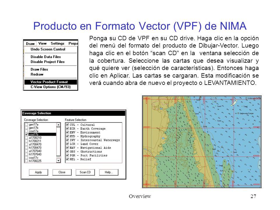 Overview27 Producto en Formato Vector (VPF) de NIMA Ponga su CD de VPF en su CD drive. Haga clic en la opción del menú del formato del producto de Dib