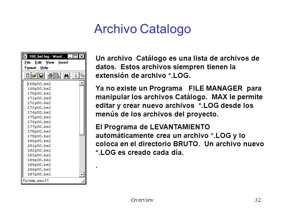 Overview32 Archivo Catalogo Un archivo Catálogo es una lista de archivos de datos. Estos archivos siempren tienen la extensión de archivo *.LOG. Ya no
