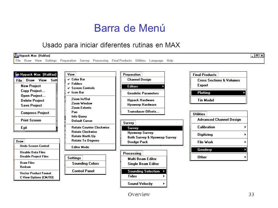 Overview33 Barra de Menú Usado para iniciar diferentes rutinas en MAX