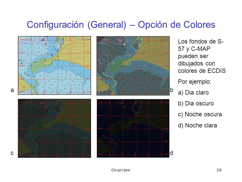 Overview39 Configuración (General) – Opción de Colores Los fondos de S- 57 y C-MAP pueden ser dibujados con colores de ECDIS Por ejemplo: a) Dia claro b) Dia oscuro c) Noche oscura d) Noche clara a c b d