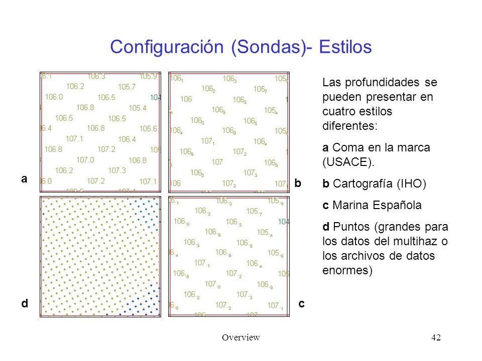 Overview42 Configuración (Sondas)- Estilos Las profundidades se pueden presentar en cuatro estilos diferentes: a Coma en la marca (USACE). b Cartograf