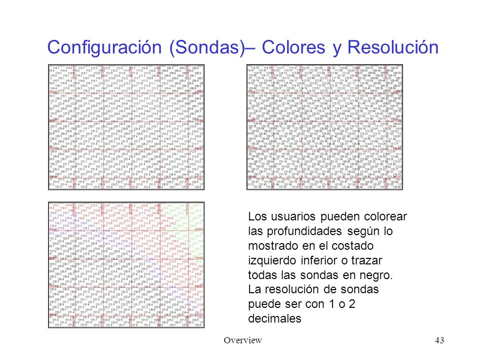 Overview43 Configuración (Sondas)– Colores y Resolución Los usuarios pueden colorear las profundidades según lo mostrado en el costado izquierdo infer