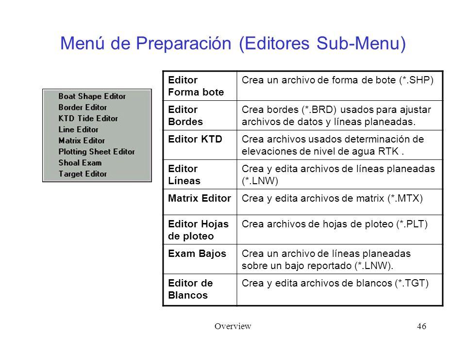 Overview46 Menú de Preparación (Editores Sub-Menu) Editor Forma bote Crea un archivo de forma de bote (*.SHP) Editor Bordes Crea bordes (*.BRD) usados para ajustar archivos de datos y líneas planeadas.