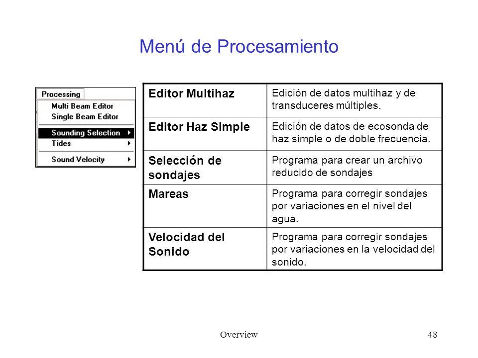 Overview48 Menú de Procesamiento Editor Multihaz Edición de datos multihaz y de transduceres múltiples. Editor Haz Simple Edición de datos de ecosonda