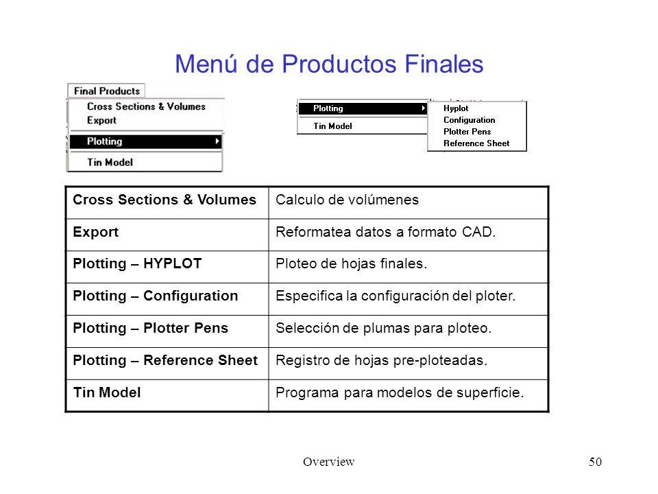 Overview50 Menú de Productos Finales Cross Sections & VolumesCalculo de volúmenes ExportReformatea datos a formato CAD. Plotting – HYPLOTPloteo de hoj