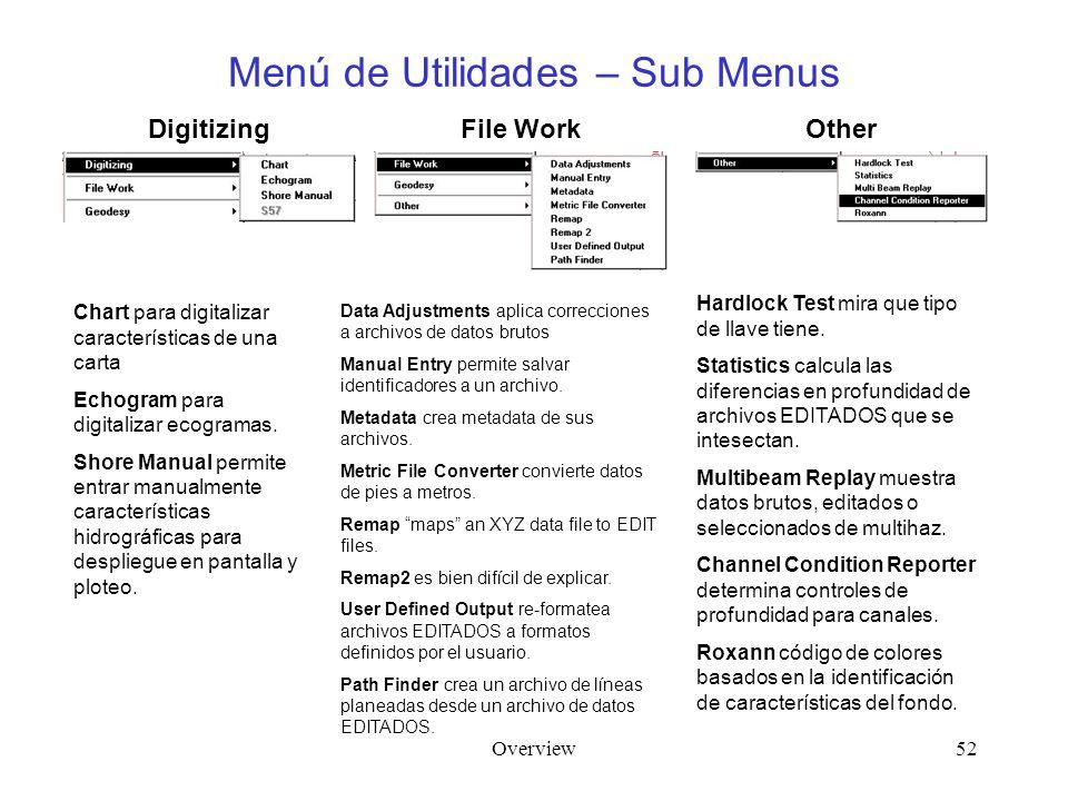 Overview52 Menú de Utilidades – Sub Menus Digitizing Chart para digitalizar características de una carta Echogram para digitalizar ecogramas. Shore Ma