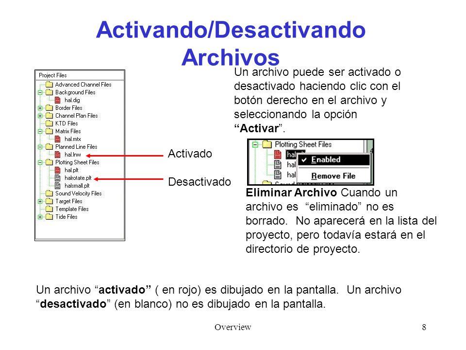 Overview8 Activando/Desactivando Archivos Un archivo activado ( en rojo) es dibujado en la pantalla. Un archivodesactivado (en blanco) no es dibujado